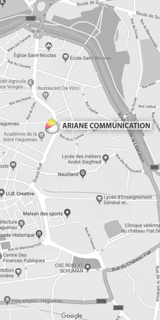 Carte où trouver l'agence Ariane communication - Haguenau
